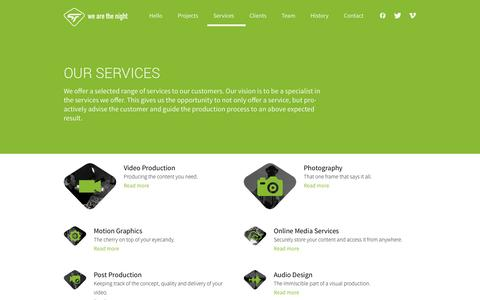 Screenshot of Services Page wearethenight.com - Our Services - We Are The Night - captured Sept. 30, 2014
