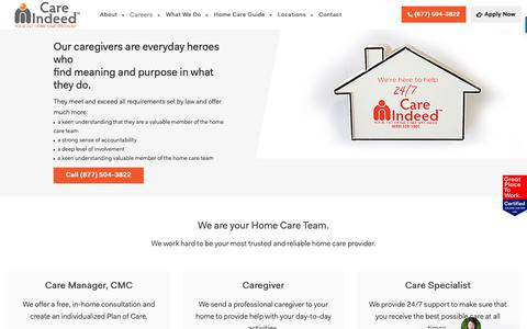 Screenshot of Jobs Page careindeed.com - Our Caregivers   Care Indeed - captured Nov. 4, 2018