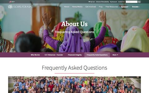 Screenshot of FAQ Page gfa.org - Frequently Asked Questions - Gospel for Asia - captured April 13, 2018
