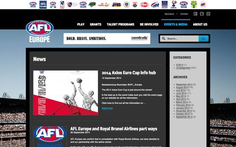 Screenshot of Press Page afleurope.org - News | AFL Europe - captured Sept. 30, 2014