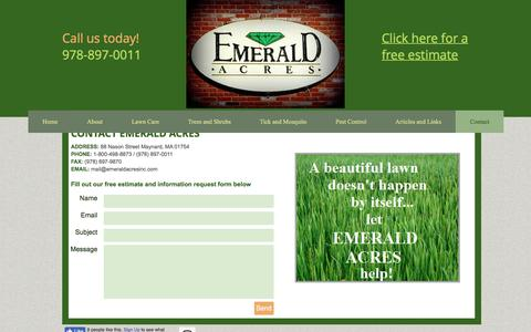 Screenshot of Contact Page emeraldacresinc.com - Contact - captured July 18, 2018