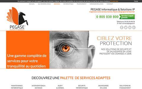 Screenshot of Services Page pegase.fr - PEGASE Informatique & Solutions IP | Découvrez nos services... - captured Sept. 25, 2018