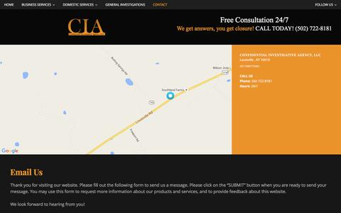 Screenshot of Contact Page confidentialinvestigativeagency.com - Contact   Confidential Investigative Agency, LLC - captured Jan. 22, 2016