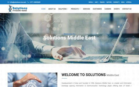 Screenshot of Home Page solutions-me.com - Solutions Middle East - captured Nov. 18, 2018