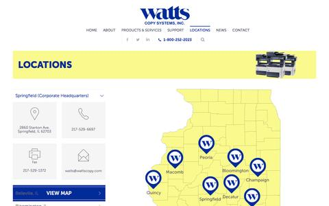 Screenshot of Locations Page wattscopy.com - Locations - Watts Copy Systems - captured Feb. 17, 2016