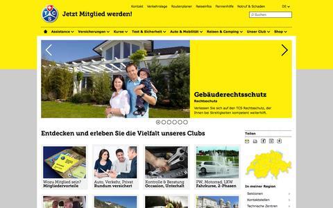 Screenshot of Home Page tcs.ch - Startseite des Touring Club Schweiz - TCS Schweiz - captured Sept. 23, 2014