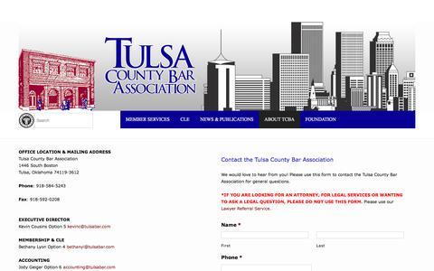 Screenshot of Contact Page tulsabar.com - Contact the Tulsa County Bar Association | Tulsa County Bar Association | TCBA | Tulsa Lawyers and Attorneys - captured June 18, 2016