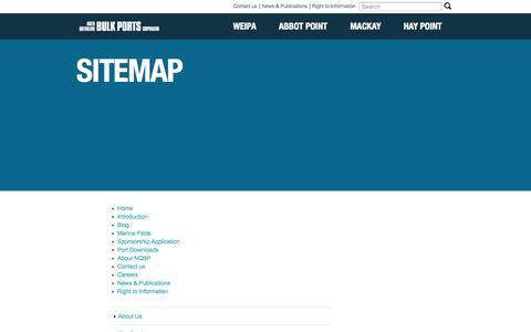 Screenshot of Site Map Page nqbp.com.au - Sitemap   North Queensland Bulk Ports - captured Oct. 7, 2014