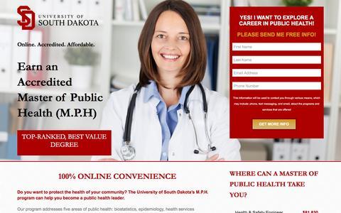 Screenshot of Landing Page usd.edu - Master of Public Health | USD M.P.H Degree | 100% Online - captured April 21, 2016