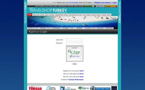 Screenshot of Login Page travelshopturkey.com - TRAVELSHOP TURKEY - AGENCY LOGIN - captured Sept. 24, 2014