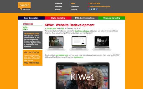 Screenshot of Press Page bantermarketing.com - News - Banter Marketing - captured Sept. 30, 2014
