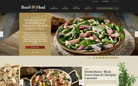 Screenshot of Home Page boarshead.com - Premium Deli | Meats | Cheeses | Recipes | Ingredients | Boar's Head - captured Feb. 7, 2016