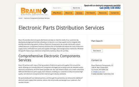 Screenshot of Services Page braunec.com - Electronic Components Distribution & Inventory Services | Braun EC | - captured Nov. 23, 2016