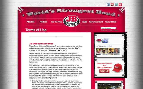 Screenshot of Terms Page jbweld.com - Terms of Use - JB Weld - captured Sept. 23, 2014