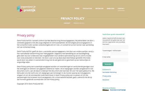 Screenshot of Privacy Page organiseerjepraktijk.nl - Privacy Policy - Organiseer je praktijk - captured Oct. 26, 2014