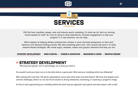Screenshot of Services Page oldhatcreative.com - Services - Old Hat - captured Oct. 19, 2018