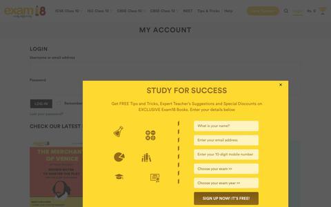 Screenshot of Login Page exam18.com - My Account - Exam18 - captured July 21, 2018