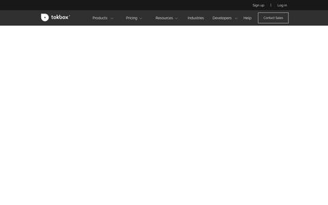 Screenshot of Signup Page tokbox.com - signup - captured Oct. 17, 2018