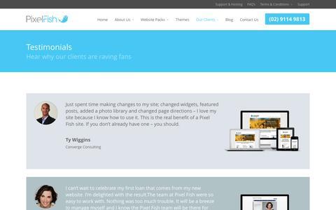 Screenshot of Testimonials Page pixelfish.com.au - Testimonials - Pixel Fish - captured Sept. 24, 2014