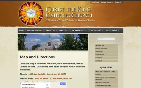 Screenshot of Maps & Directions Page ctkcc.net - Map and Directions – Christ the King Catholic Church - captured Oct. 2, 2014