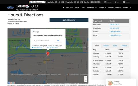 Screenshot of Maps & Directions Page Hours Page tamiamiford.com - Tamiami Ford Inc Hours of Operation   Naples Ford Dealer Directions - captured Nov. 1, 2018