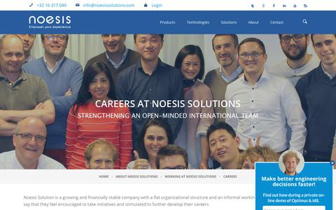 Screenshot of Jobs Page noesissolutions.com - Careers | Noesis Solutions | Noesis Solutions - captured Oct. 19, 2018