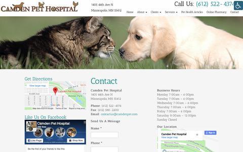 Screenshot of Contact Page camdenpet.com - Contact a Veterinarian in Minneapolis, MN | Camden Pet Hospital - captured Sept. 26, 2018