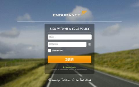 Screenshot of Login Page endurancewarranty.com - Endurance - captured Sept. 23, 2014