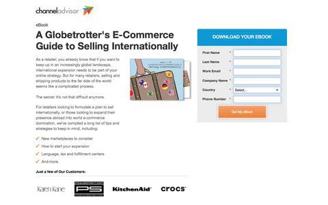 Screenshot of Landing Page channeladvisor.com - A Globetrotter's E-Commerce Guide to Selling Internationally | ChannelAdvisor - captured April 8, 2018