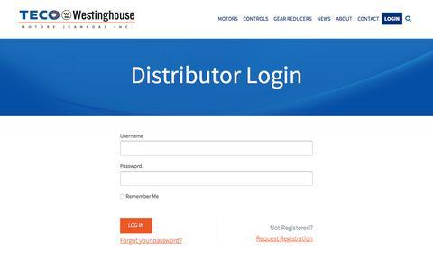 Screenshot of Login Page tecowestinghouse.ca - Distributor Login - TECO-Westinghouse Motors (Canada) Inc. - captured Feb. 14, 2016