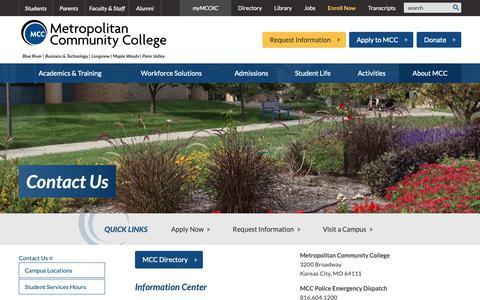Screenshot of Contact Page mcckc.edu - Contact Us :: Metropolitan Community College - captured Oct. 18, 2018