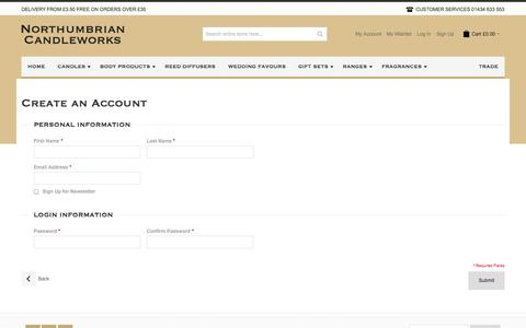 Screenshot of Signup Page northumbriancandleworks.co.uk - Create New Customer Account - captured Sept. 30, 2014