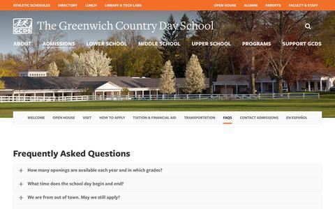 Screenshot of FAQ Page gcds.net - FAQs - Greenwich Country Day - captured Sept. 24, 2017