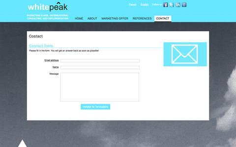 Screenshot of Contact Page whitepeak.eu - Contact |  White peak - captured Oct. 26, 2014