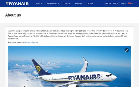 Screenshot of About Page ryanair.com - About us - captured May 11, 2017