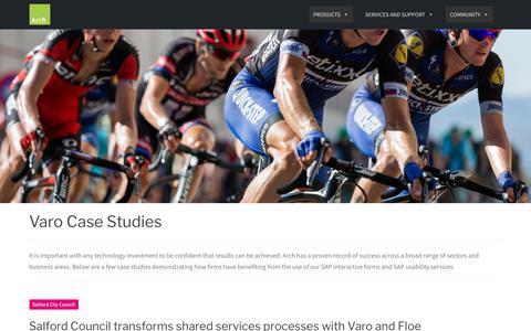 Screenshot of Case Studies Page arch-global.com - Varo | SAP HTML E-forms | Case Studies | Arch - captured Aug. 27, 2019
