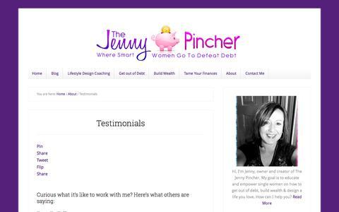 Screenshot of Testimonials Page thejennypincher.com - Testimonials - thejennypincher.com - captured Sept. 21, 2018