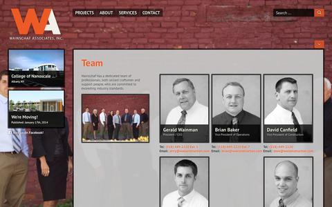 Screenshot of Team Page waiconstruction.com - Team » Wainschaf Associates, LLC - captured Oct. 7, 2014