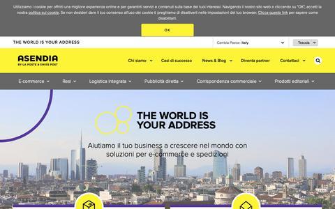 Screenshot of Home Page asendia.it - Servizi postali e per l'e-commerce nel mondo - Asendia Italia - captured Oct. 21, 2018