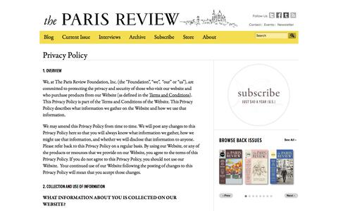 Screenshot of Privacy Page theparisreview.org - The Paris Review Privacy Policy - captured Sept. 25, 2014