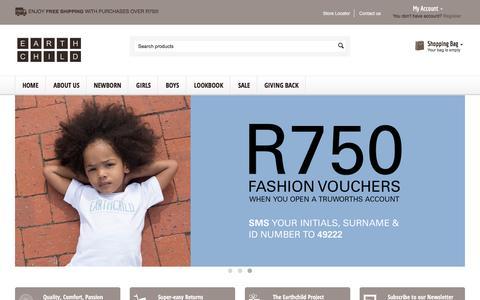 Screenshot of Home Page earthchild.co.za - Buy Organic Children's Clothing Online  Earthchild - captured Jan. 22, 2016