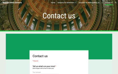 Screenshot of Contact Page google.com - Municipal Media Solutions - Contact us - captured Oct. 19, 2018