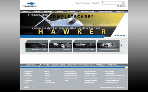 Screenshot of Home Page standardaero.com - StandardAero > Home - captured Jan. 27, 2015