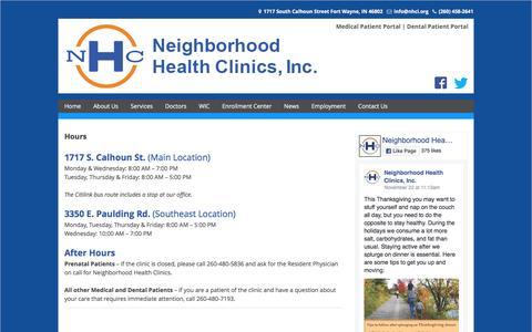 Screenshot of Hours Page nhci.org - Hours   Neighborhood Health Clinic - captured Nov. 29, 2016