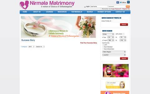 Screenshot of Testimonials Page nirmalamatrimony.com - Nirmala Matrimony | Diocese of Kothamankalam Matrimony Service - Success Stories in Syro-Malabar Matrimony - Catholic Matrimony, Christian Matrimony, Kerala Catholic Matrimonial - captured Jan. 23, 2017