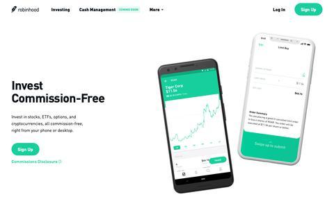 Screenshot of Home Page robinhood.com - Robinhood – Commission Free Stock Trading App - Crypto, Options, ETFs - captured March 15, 2019