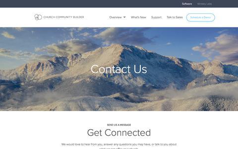 Screenshot of Contact Page churchcommunitybuilder.com - Contact Us - Church Community Builder - captured April 24, 2018