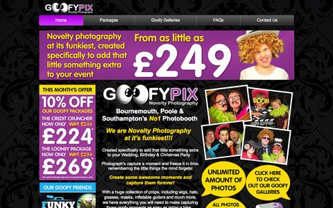 Screenshot of Home Page goofypix.co.uk - GoofyPix - Photo booth in Bournemouth- Photo booth in Southampton - captured Sept. 30, 2014