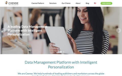 Screenshot of Home Page cxense.com - Personalization, Conversion Rate Optimization, Individual Experiences | Cxense - captured Sept. 20, 2018