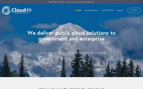 Screenshot of Home Page cloud49.com - Cloud49 - captured July 14, 2016